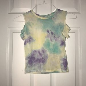 hollister tie dye tank with cut out shoulders